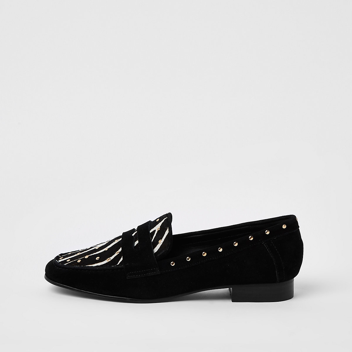Black suede zebra print studded loafer