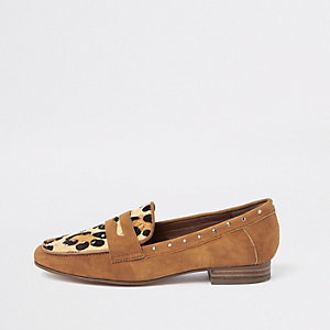 Brown suede leopard print studded loafers