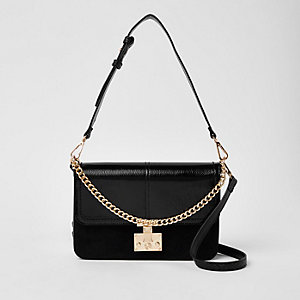 Black lock front chain underarm bag