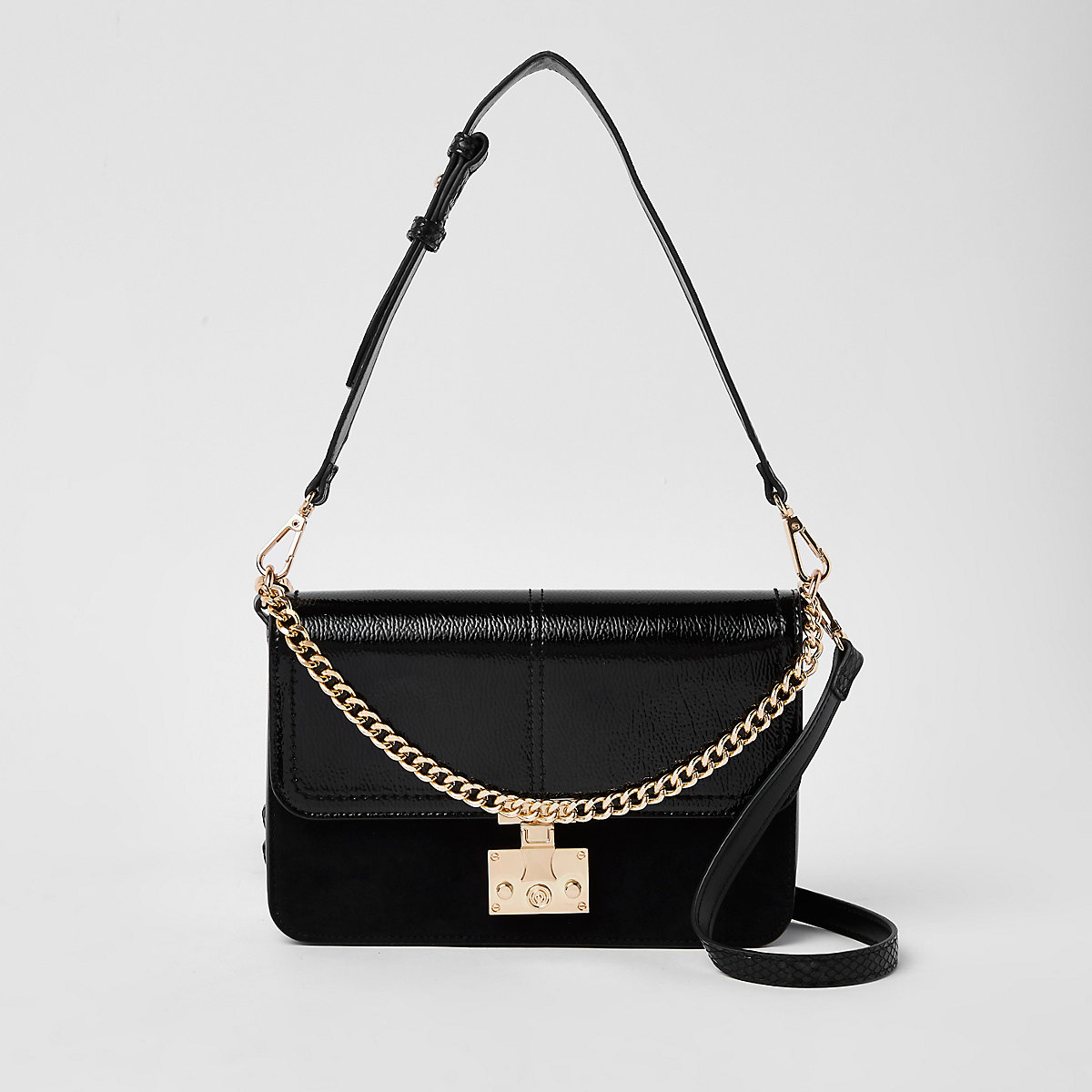 Black lock front chain underarm bag