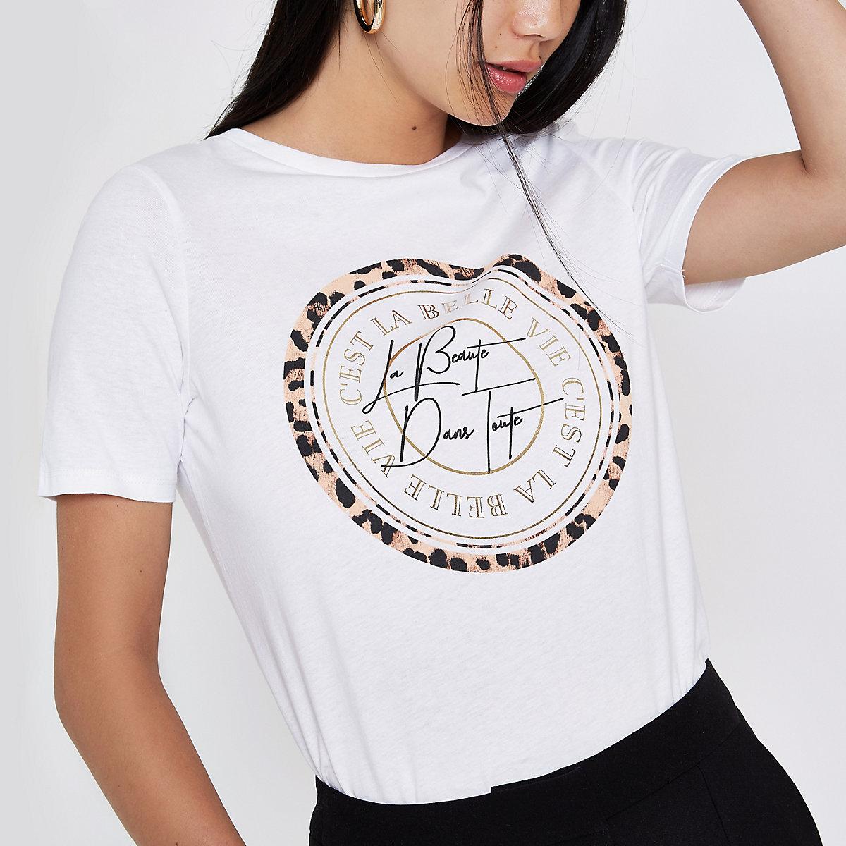 White 'C'est la belle' circle print T-shirt