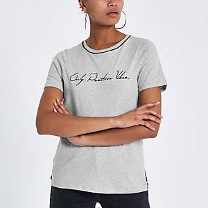 Grey front print piped fitted T-shirt