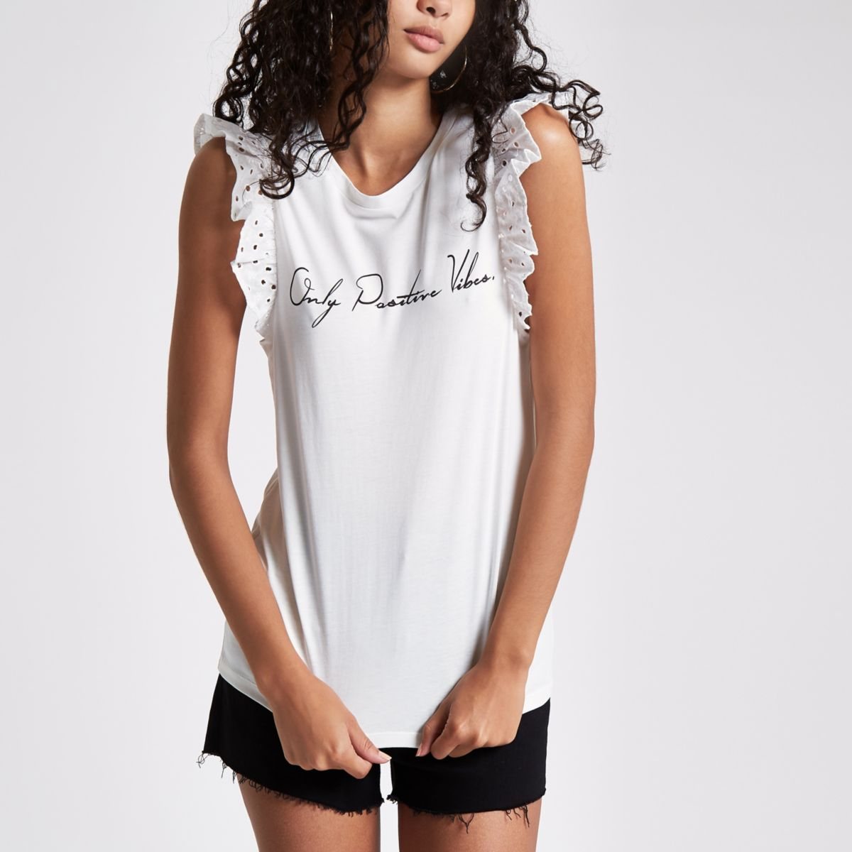 White 'positive vibes' broderie tank top