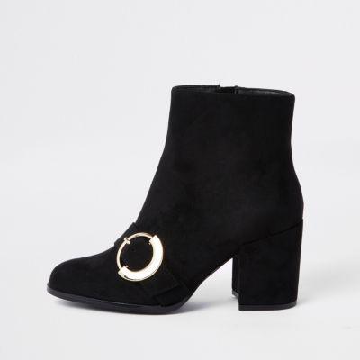 Black Toe Buckle Block Heel Boots by River Island