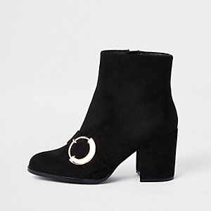 Black toe buckle block heel boots