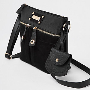 Black double pocket cross body bag