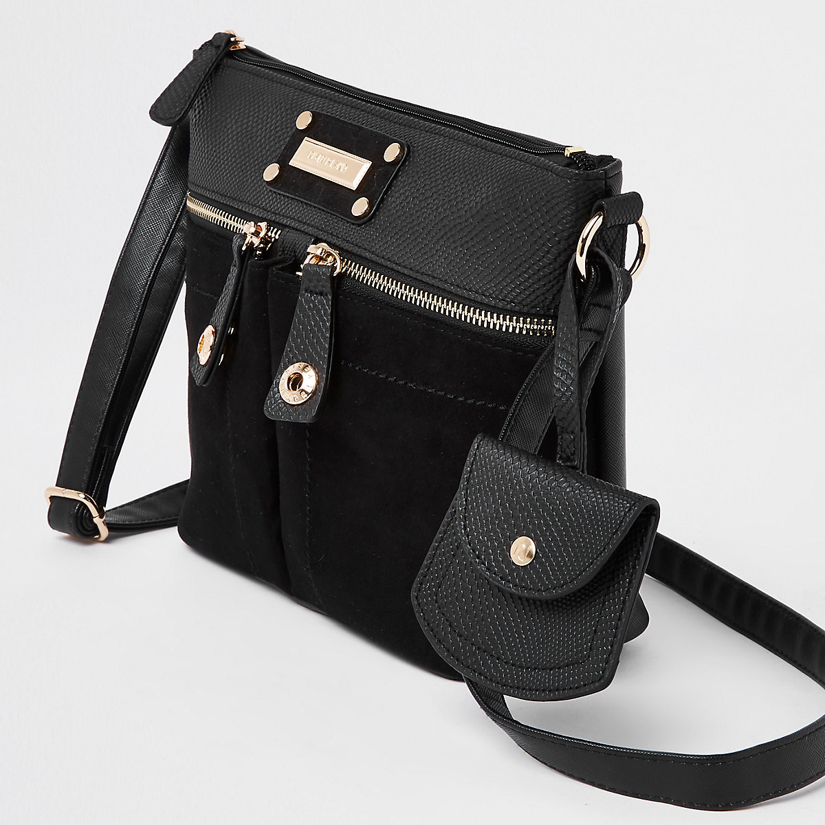 8d10d62dc4 Black double pocket cross body bag - Cross Body Bags - Bags   Purses - women