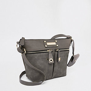 Light grey zip pocket cross body bag