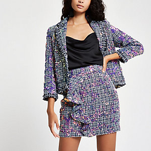 Purple sequin boucle ruffle mini skirt