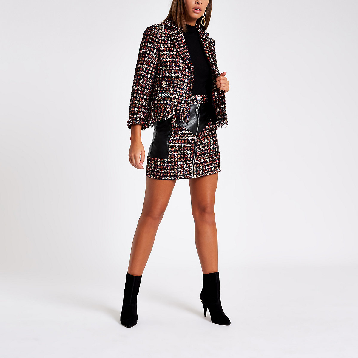 Red check faux leather block mini skirt