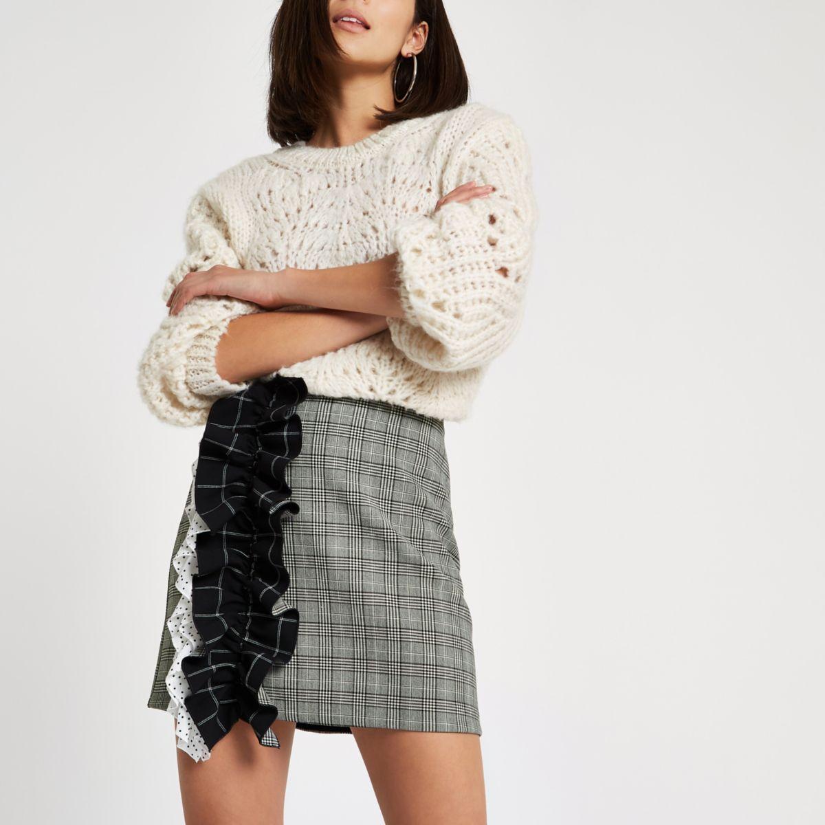 Grey check print ruffle mini skirt