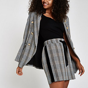Brown check drawstring mini skirt