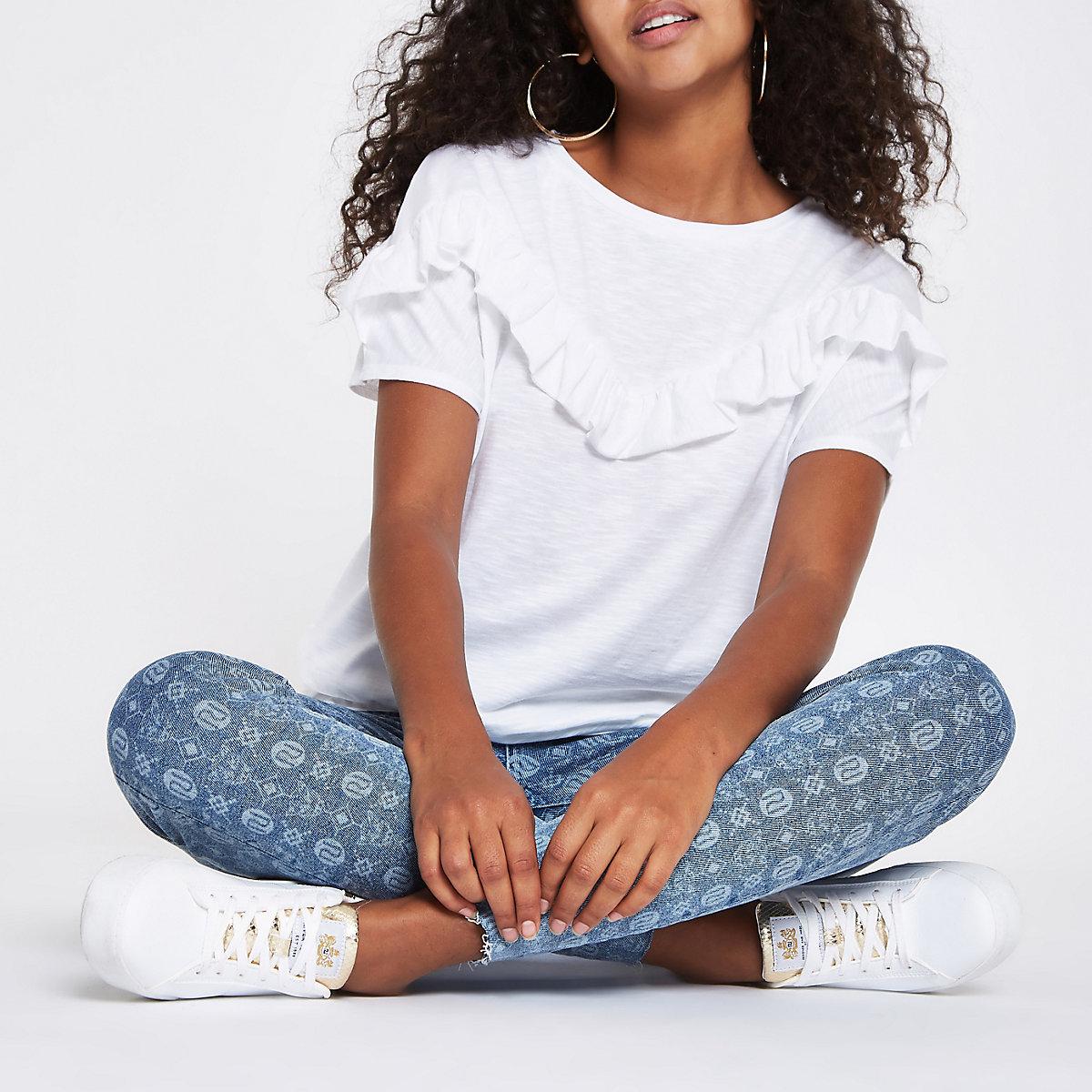 0d65fa6a3ecc T-shirt blanc avec plastron à volants et manches courtes - T-shirts ...