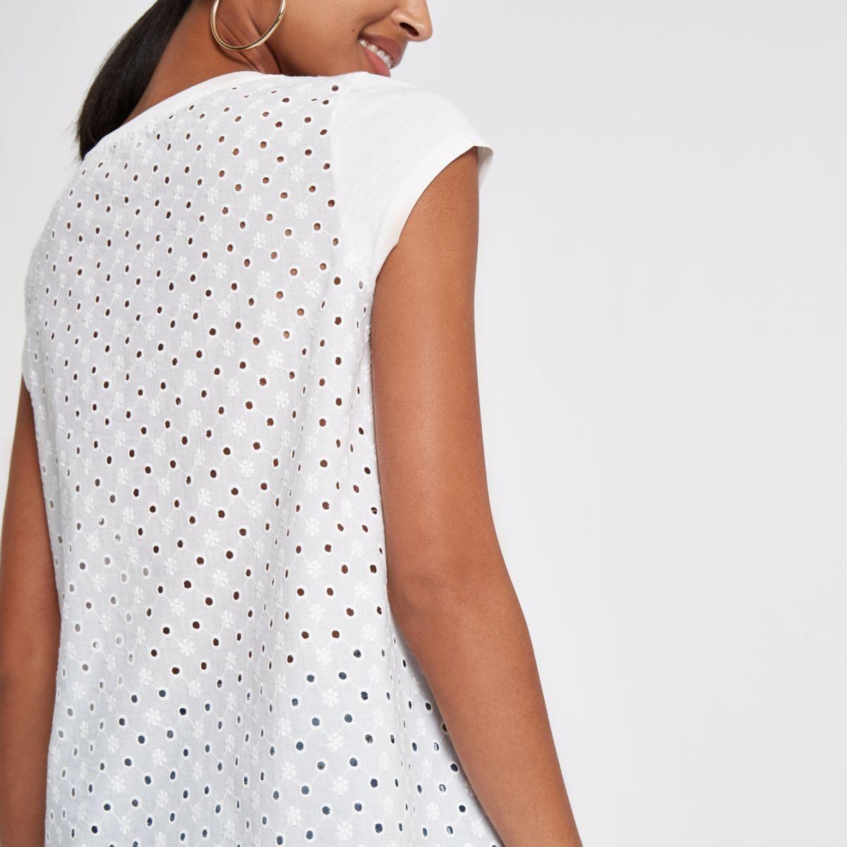 White broderie back T-shirt
