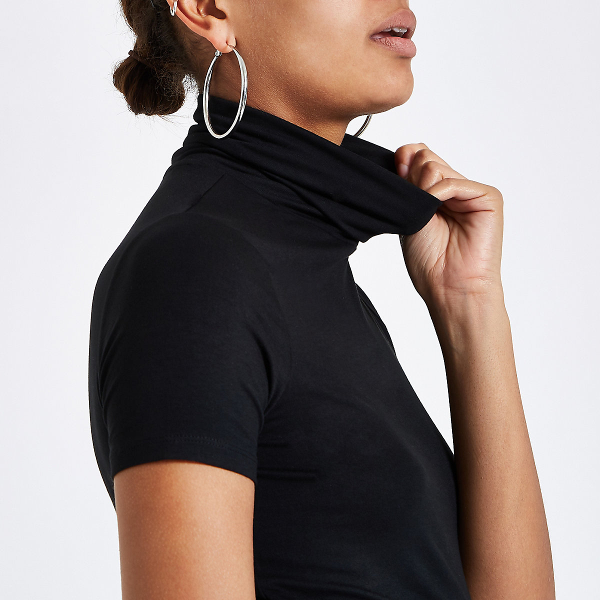 Black short sleeve fitted turtle neck top