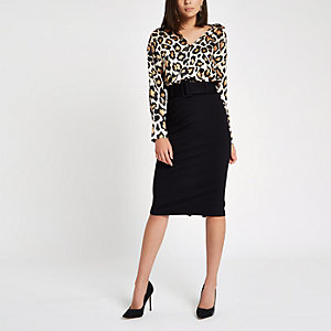 Black ponte pencil skirt
