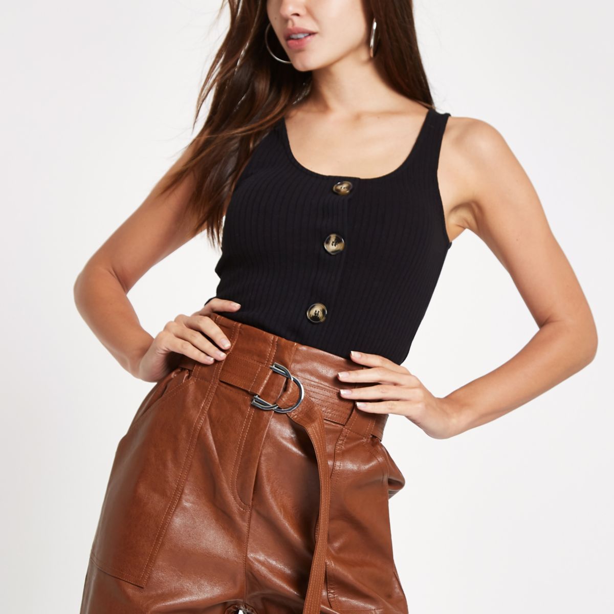 Black button front tank