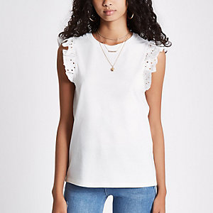 White broderie frill sleeve tank top