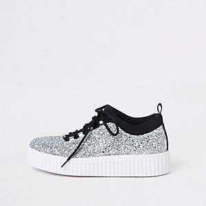 Silver glitter lace up creeper sneakers