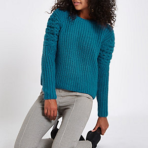 Blue knit long sleeve jumper