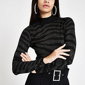 Silver zebra print high neck knit jumper
