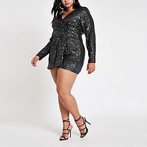 Plus dark grey sequin wrap front playsuit