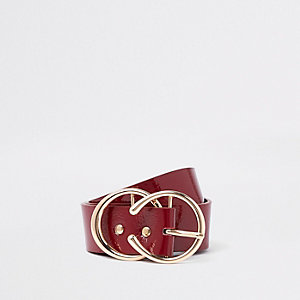 Dark red horseshoe double ring belt