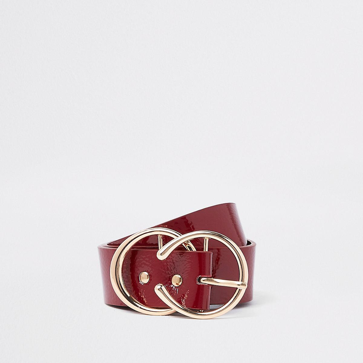 Dark red horseshoe double ring belt