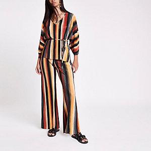 Blue stripe plisse wide leg trousers