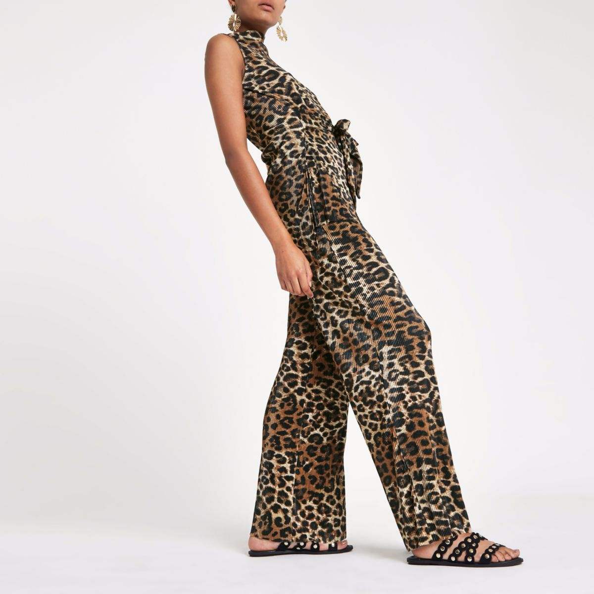 Brown leopard print pleated wide leg trousers