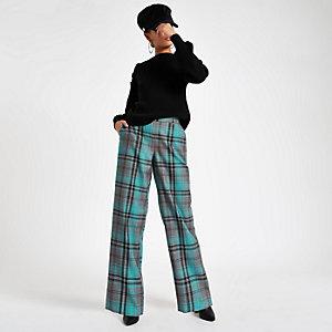 Turquoise geruite broek met wijde pijpen