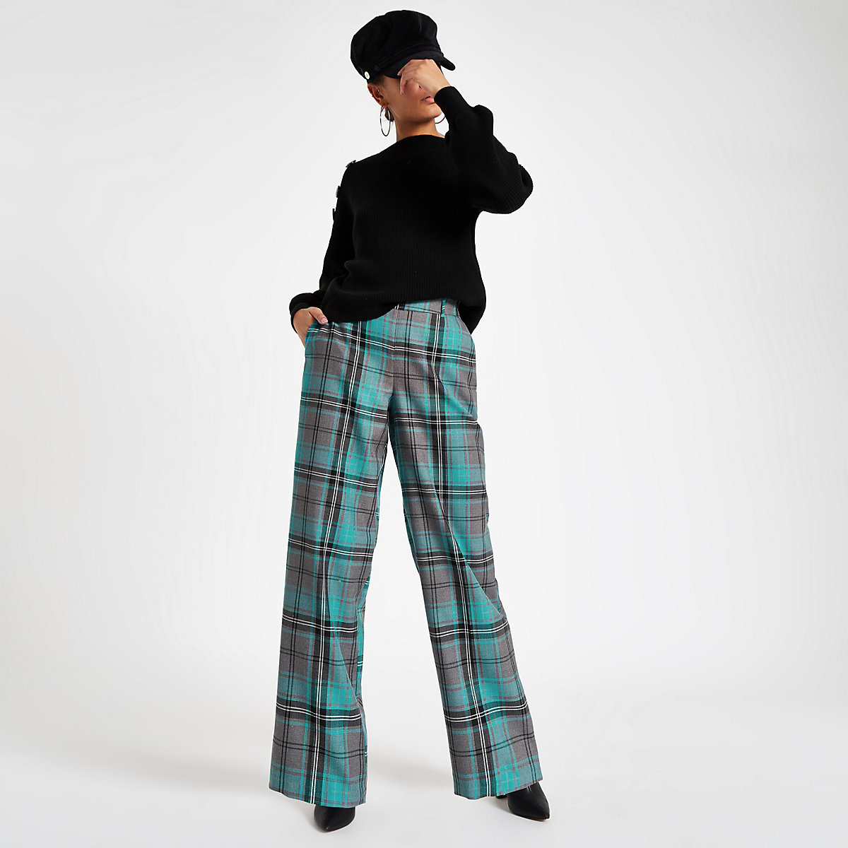 Turquoise check wide leg trousers