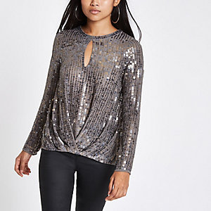 Petite grey sequin tuck front long sleeve top