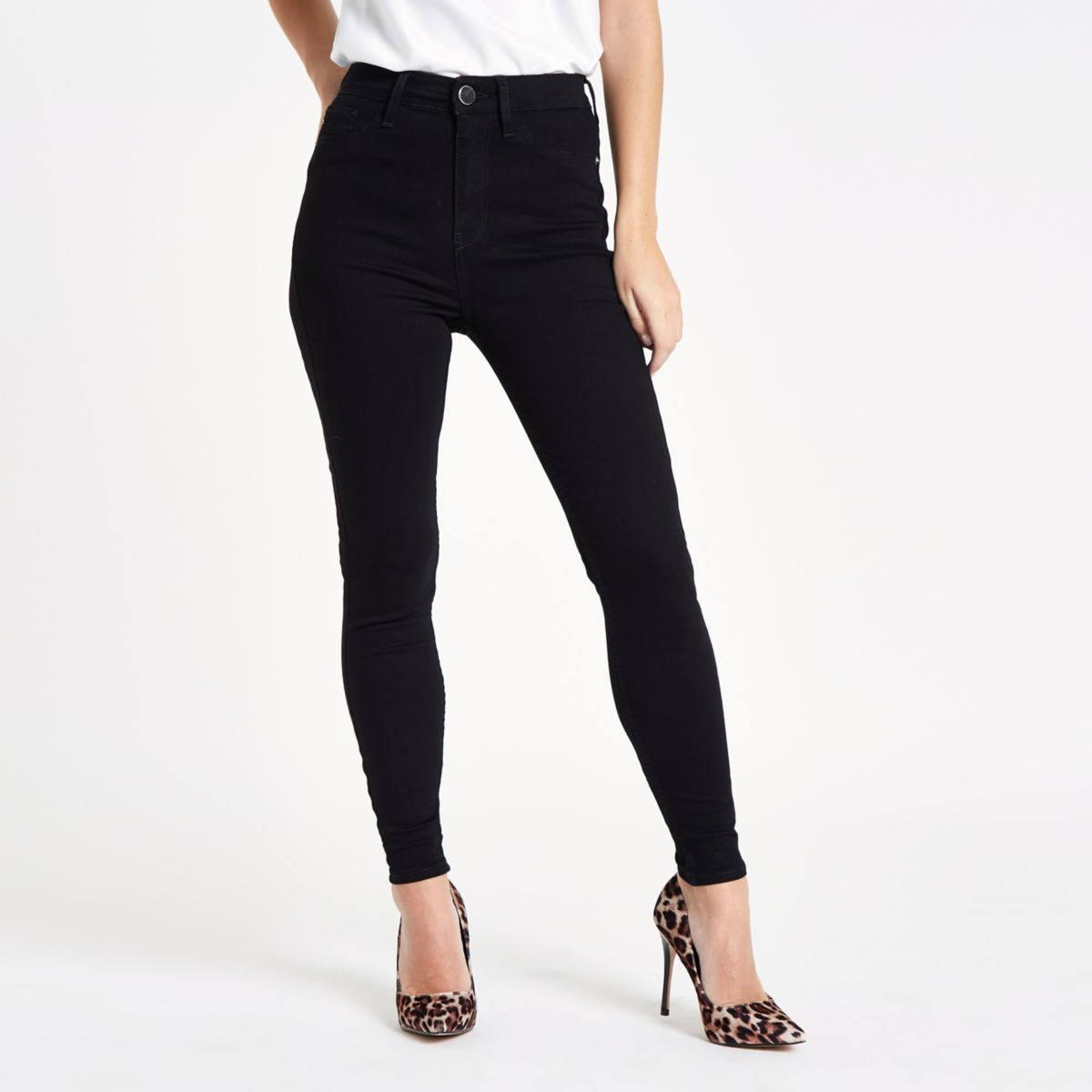 Petite black Harper high rise skinny jeans