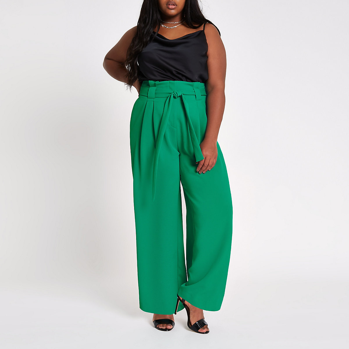 Plus green paperbag waist wide leg trousers