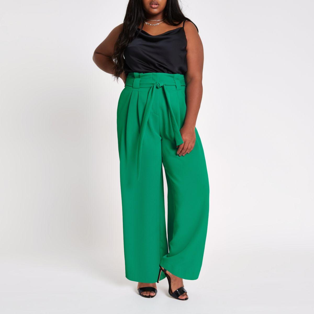 Plus green paperbag waist wide leg pants