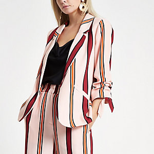 Petite pink striped ruched sleeve blazer