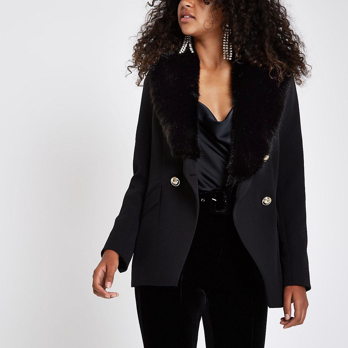 Black faux fur button tux style jacket