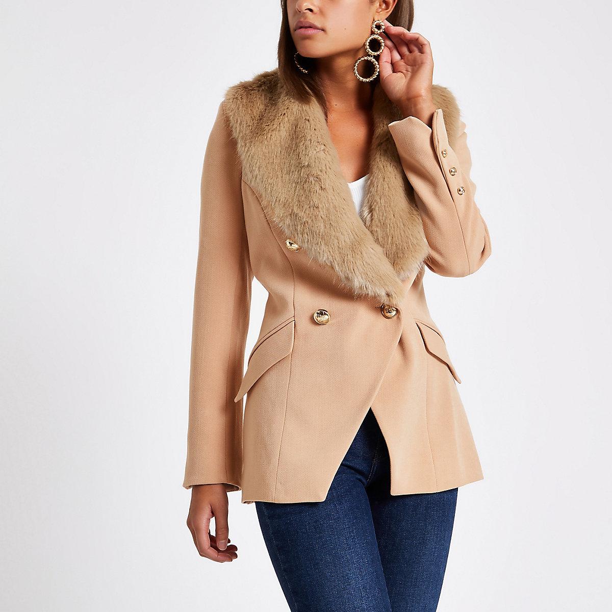 Beige faux fur trim double breasted jacket