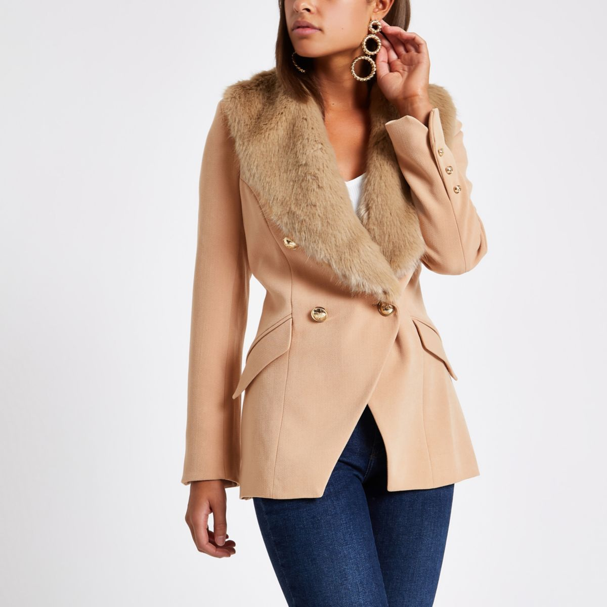 Beige faux fur trim double breasted jacket