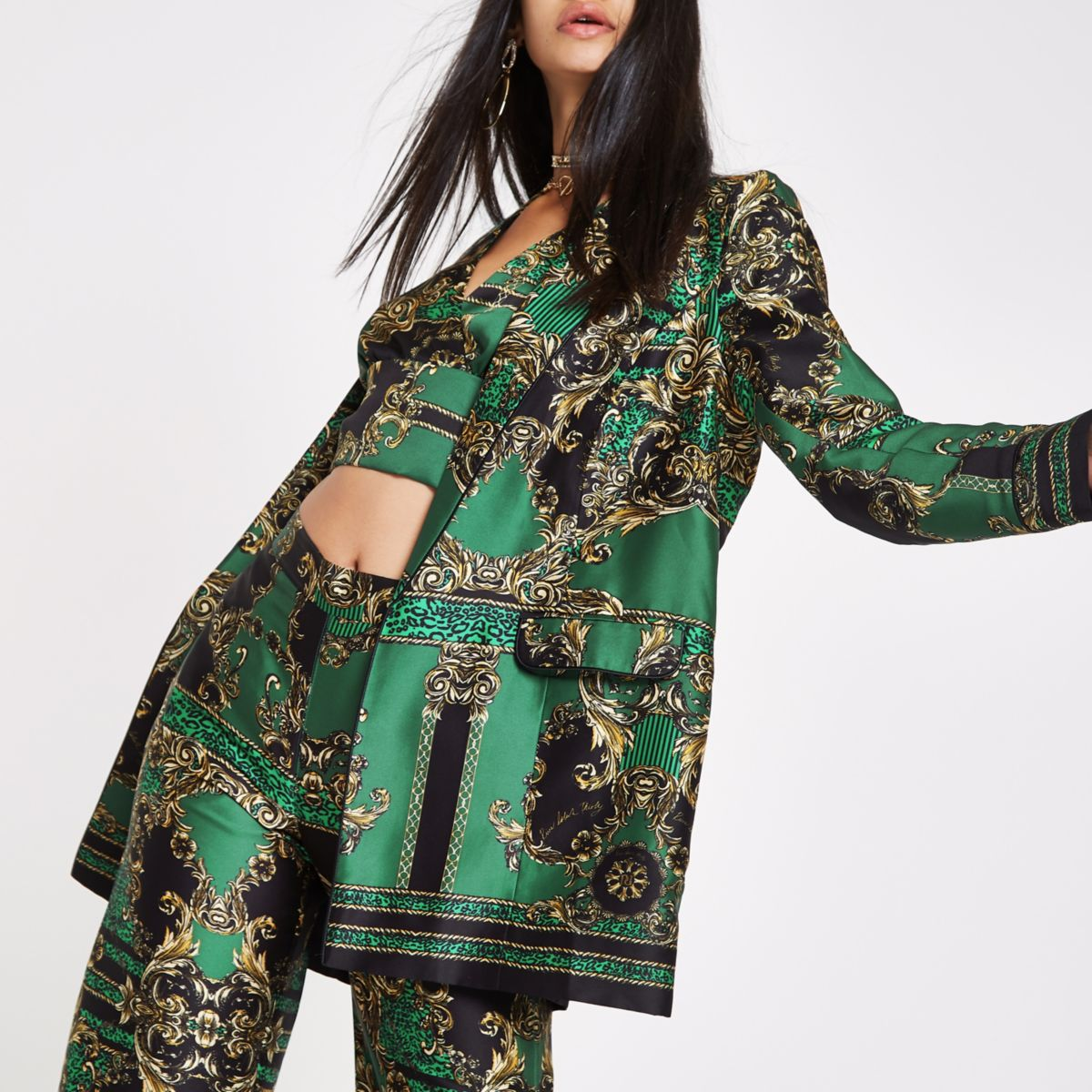 RI 30 green printed longline blazer