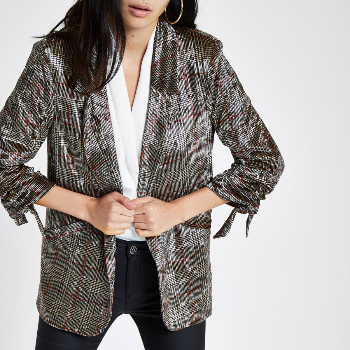 Brown velvet check ruched sleeve blazer