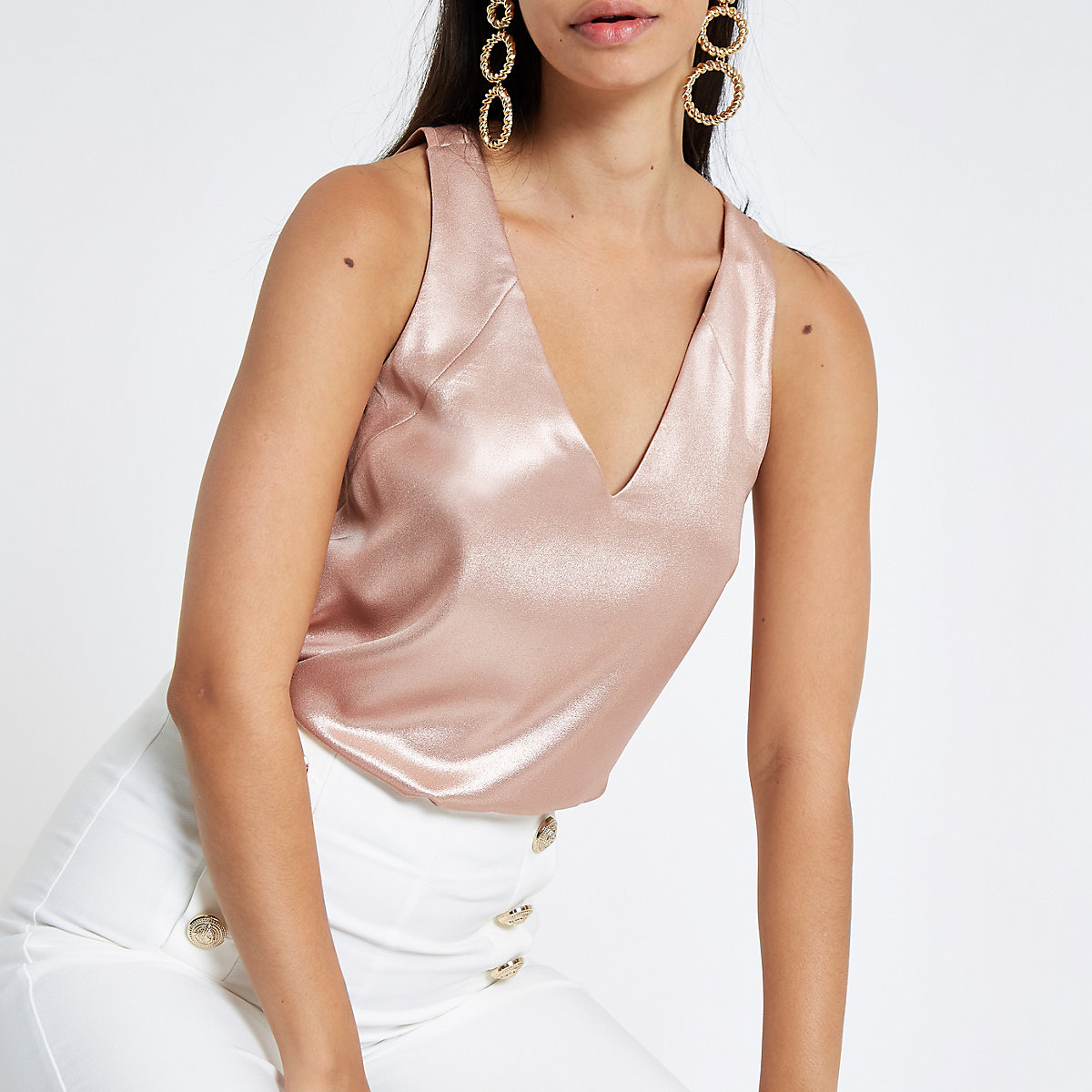 Pink metallic tone bar back vest