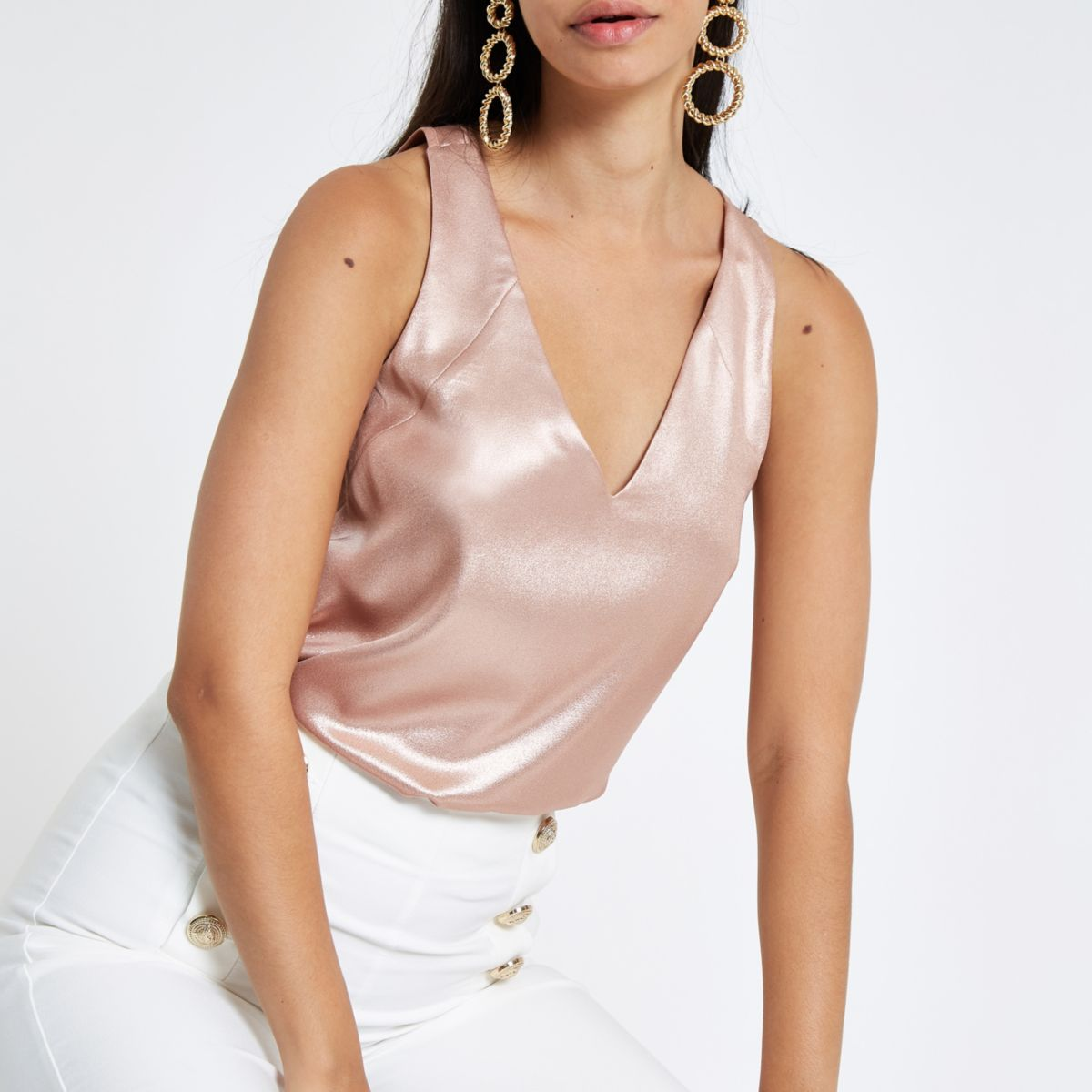Pink metallic tone bar back tank