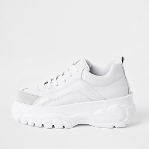 White faux leather chunky lace up sneakers