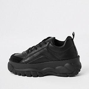 Baskets en cuir synthétique noires à lacets et semelles épaisses