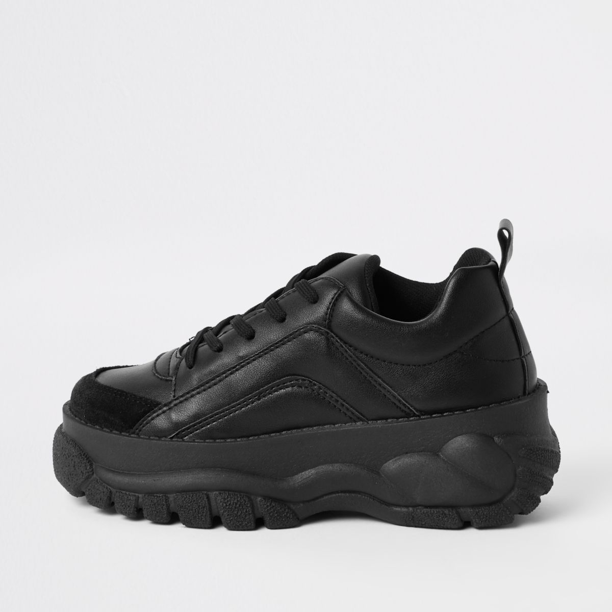Black faux leather chunky lace up sneakers