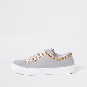 Grey chain side lace up trainer