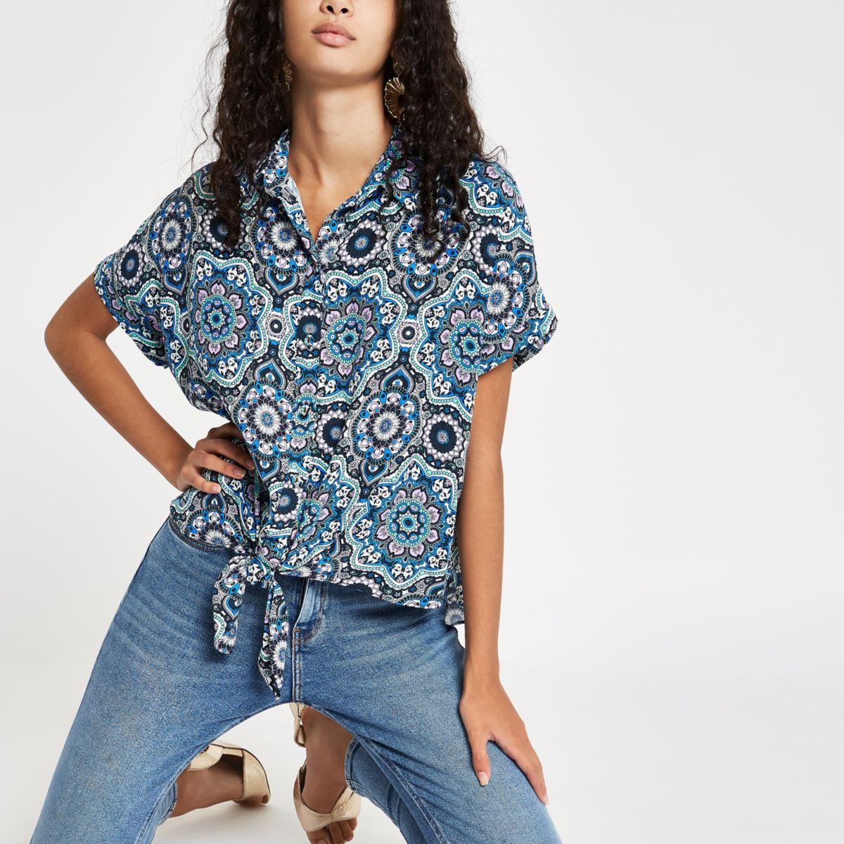 Blue mosaic printed tie front shirt