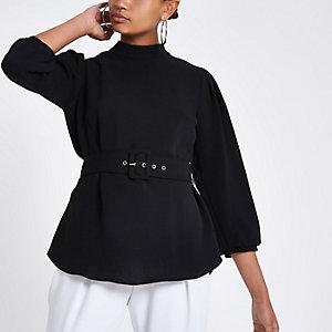 Black loose fit cuffed hem belted top